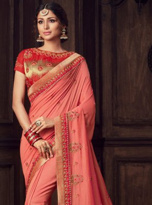 Poly Silk Hot Pink Embroidered Traditional Saree