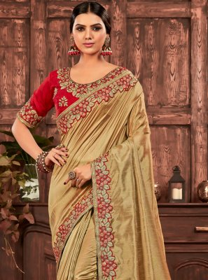 Poly Silk Patch Border Gold Designer Saree