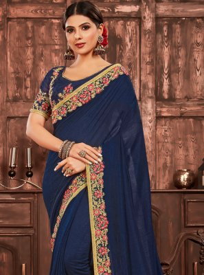 Poly Silk Patch Border Navy Blue Traditional Saree