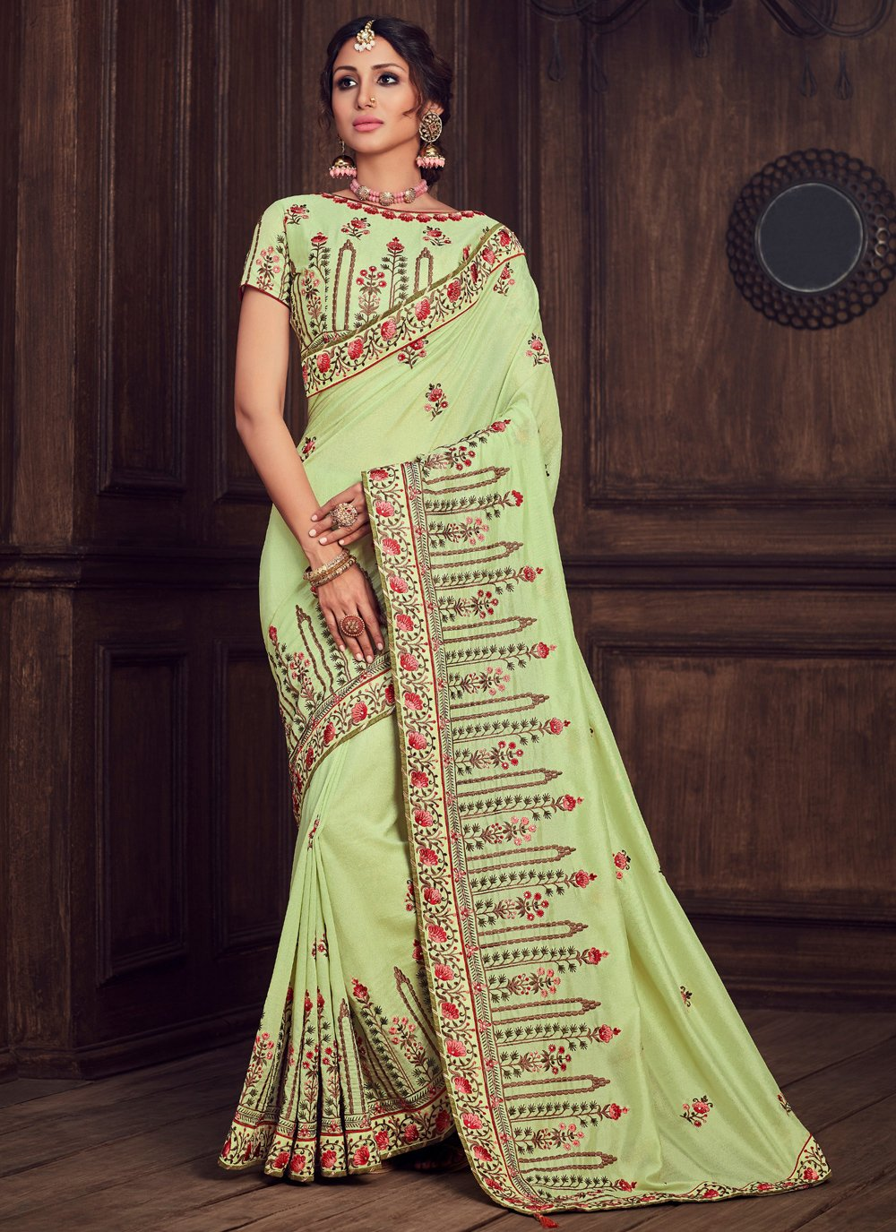 Poly Silk Patch Border Traditional Saree