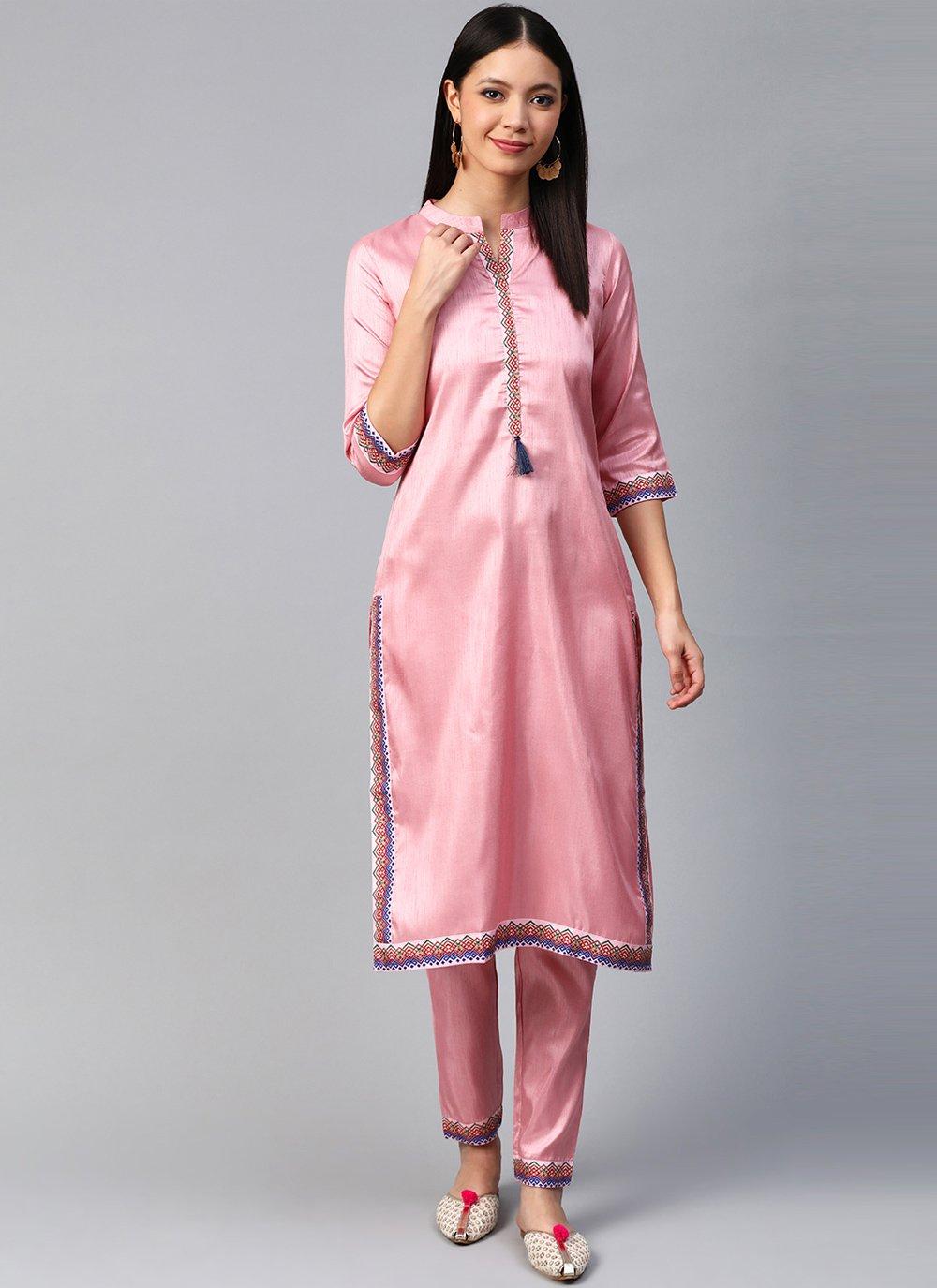 Poly Silk Pink Designer Kurti