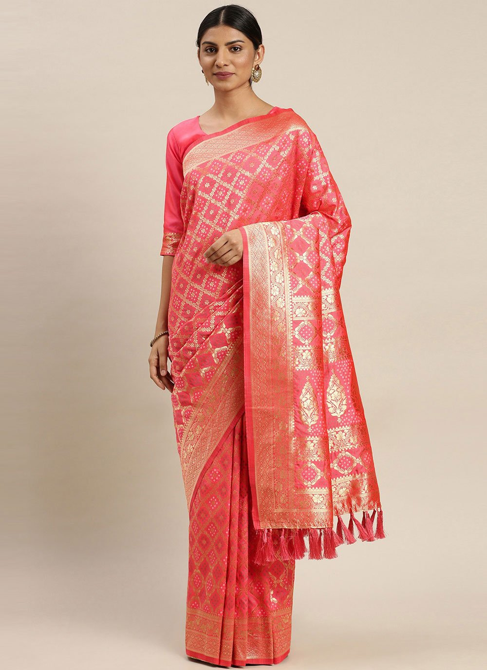 Poly Silk Pink Weaving Designer Traditional Saree