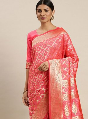 Poly Silk Pink Weaving Designer Traditional Saree