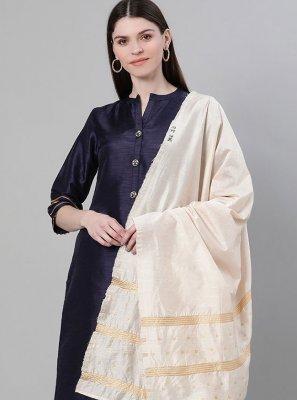 Poly Silk Plain Trendy Salwar Kameez in Navy Blue