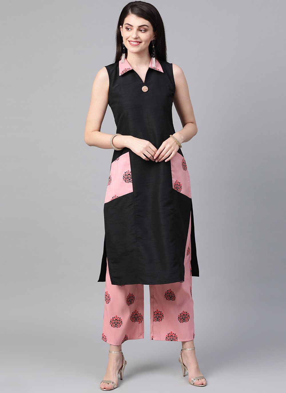 Poly Silk Print Black Casual Kurti