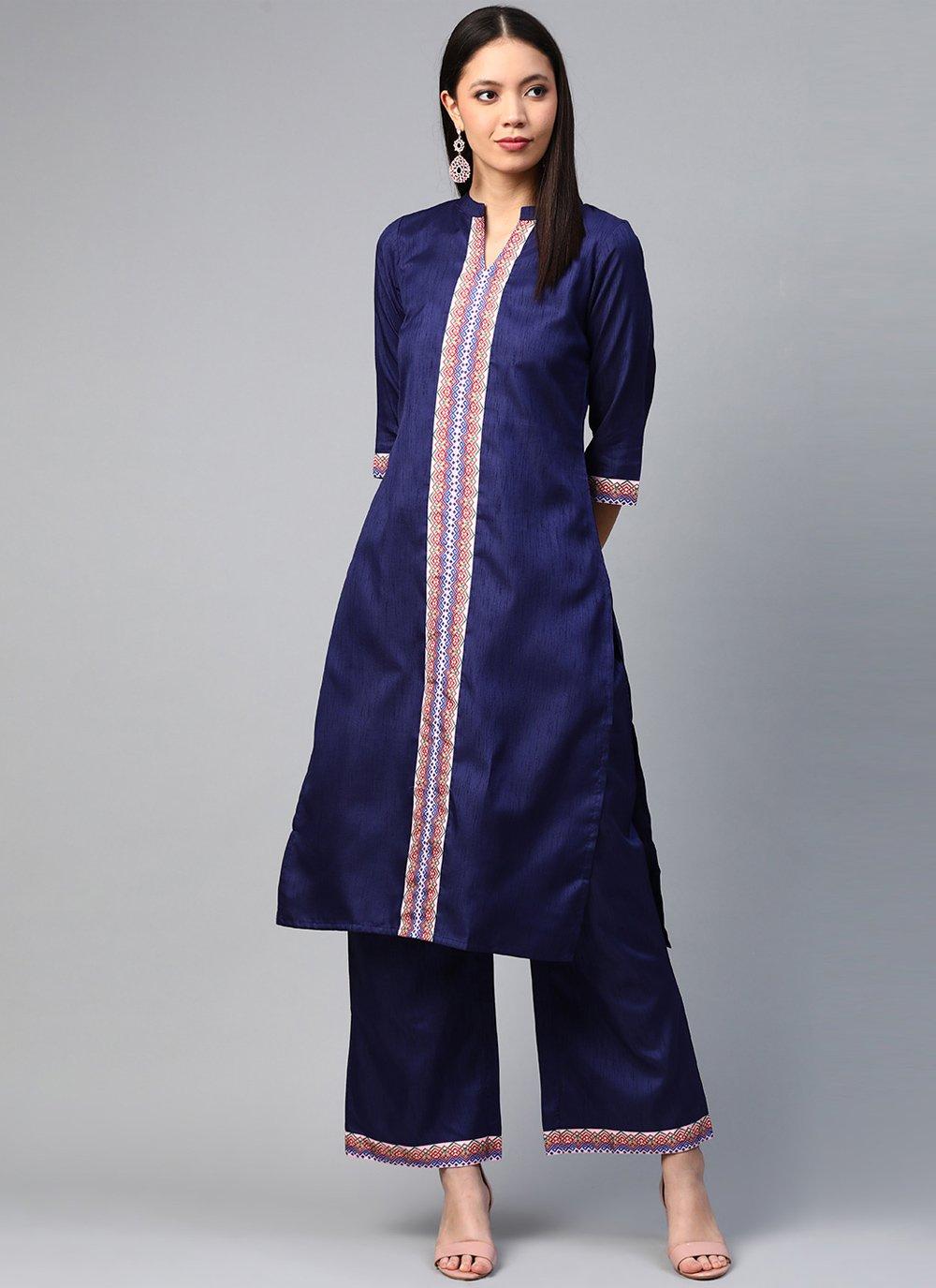 Poly Silk Print Blue Designer Kurti