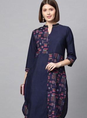 Poly Silk Print Navy Blue Designer Kurti