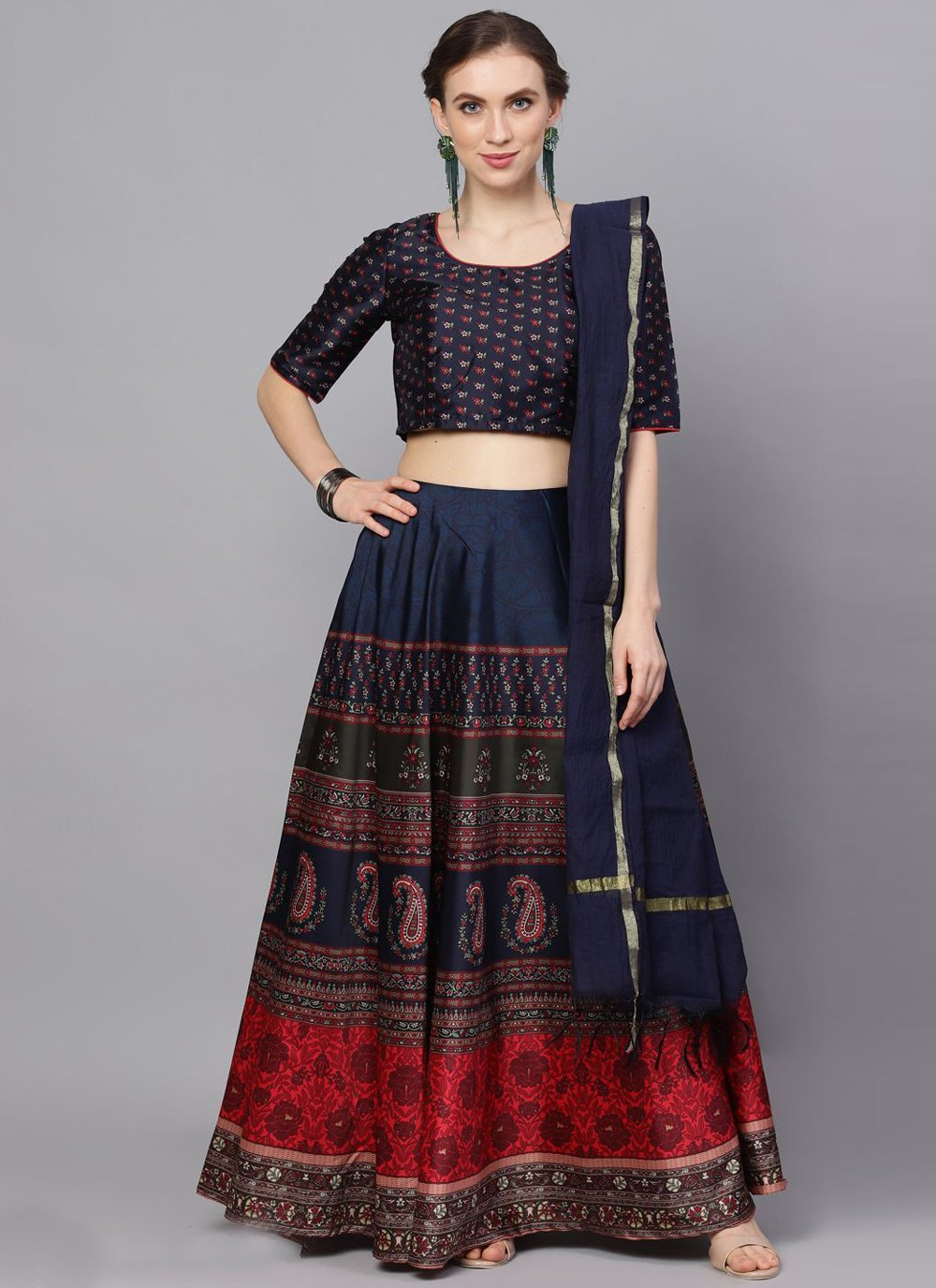 Poly Silk Print Readymade Lehenga Choli in Navy Blue