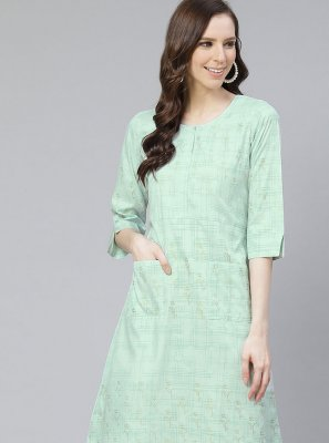 Poly Silk Printed Party Wear Kurti in Green
