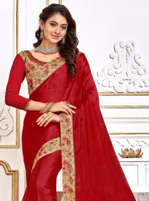 Poly Silk Red Designer Traditional Saree