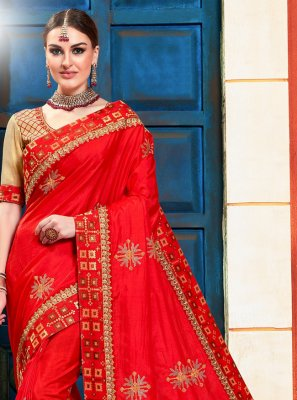 Poly Silk Red Traditional Saree