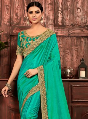 Poly Silk Sea Green Patch Border Designer Traditional Saree