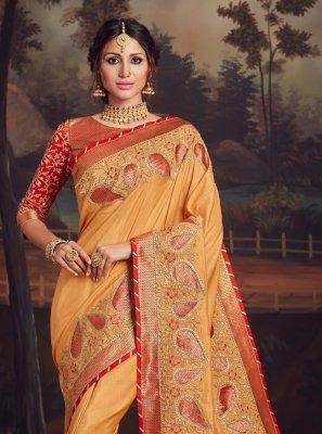 Poly Silk Traditional Designer Saree in Mustard