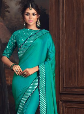 Poly Silk Turquoise Embroidered Designer Traditional Saree