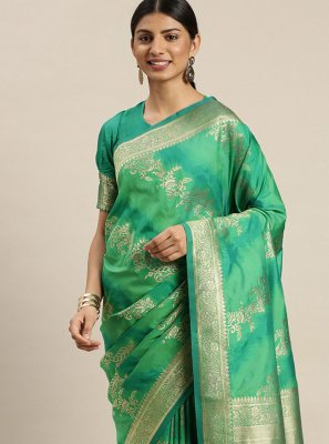 Poly Silk Weaving Designer Traditional Saree in Green