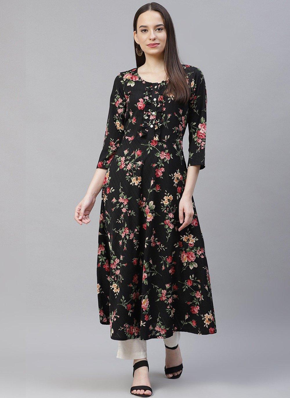 Polyester Black Floral Print Party Wear Kurti