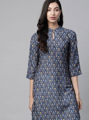 Polyester Blue Printed Party Wear Kurti