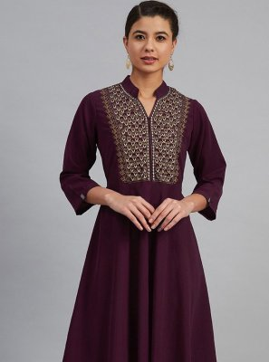 Polyester Designer Kurti in Purple