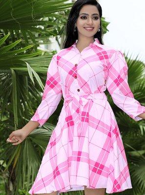 Polyester Digital Print Pink Designer Kurti