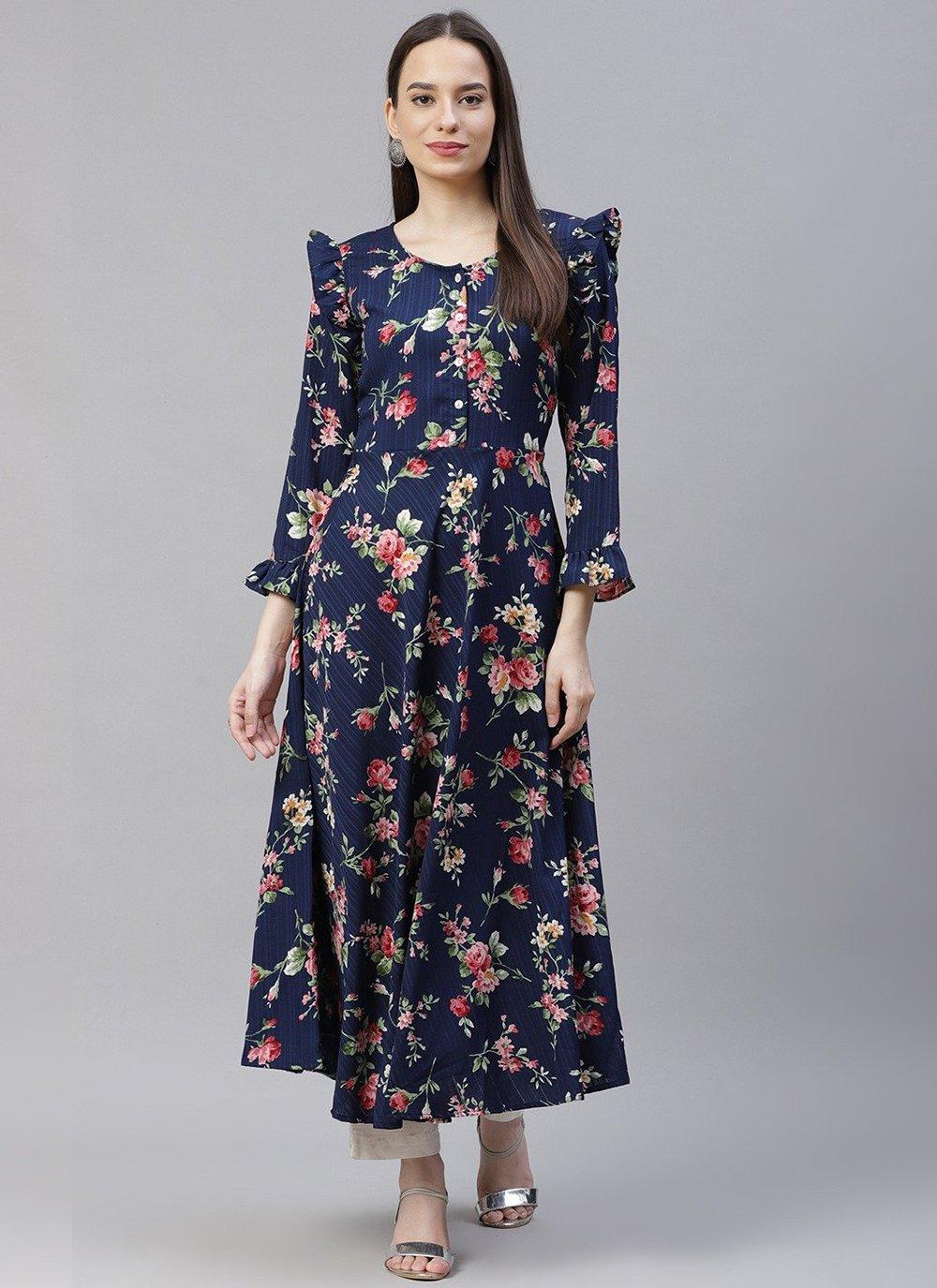 Polyester Floral Print Navy Blue Designer Kurti