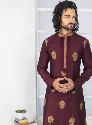 Polyester Kurta Pyjama in Black