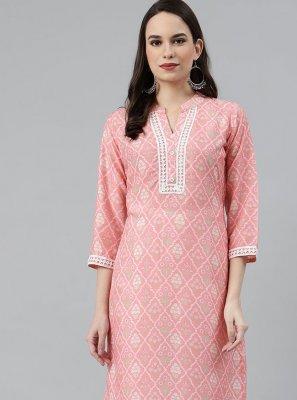 Polyester Pink Party Wear Kurti