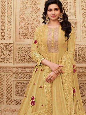 Prachi Desai Auspicious Yellow Floor Length Anarkali Suit