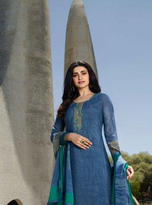 Prachi Desai Blue Embroidered Designer Palazzo Salwar Kameez