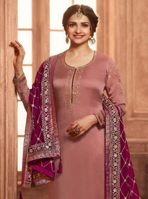 Prachi Desai Embroidered Brown Georgette Satin Pant Style Suit