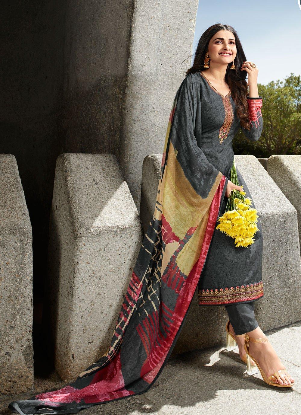 Prachi Desai Embroidered Grey Faux Crepe Designer Straight Salwar Suit
