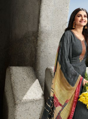Prachi Desai Embroidered Grey Faux Crepe Designer Straight Salwar Suit