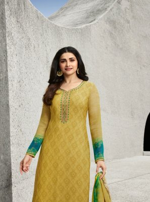 Prachi Desai Embroidered Yellow Designer Straight Suit
