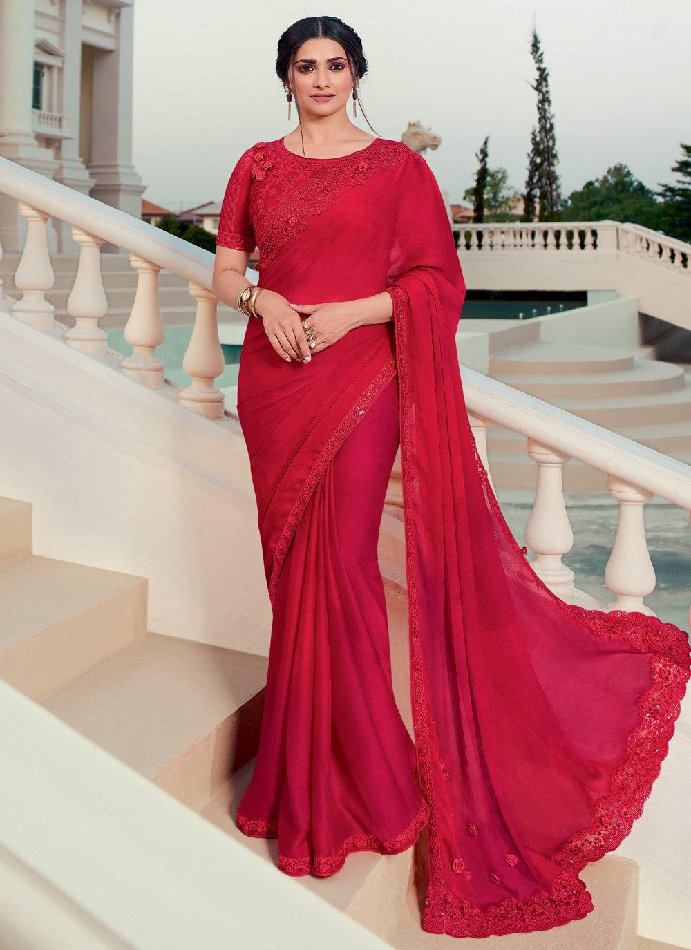 Prachi Desai Faux Chiffon Embroidered Red Classic Designer Saree