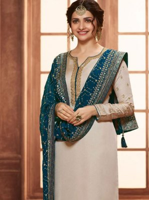 Prachi Desai Georgette Satin Embroidered Pant Style Suit