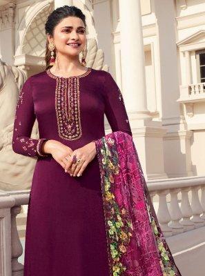Prachi Desai Magenta Satin Embroidered Designer Palazzo Salwar Suit