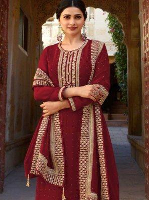 Prachi Desai Maroon Faux Georgette Embroidered Designer Suit