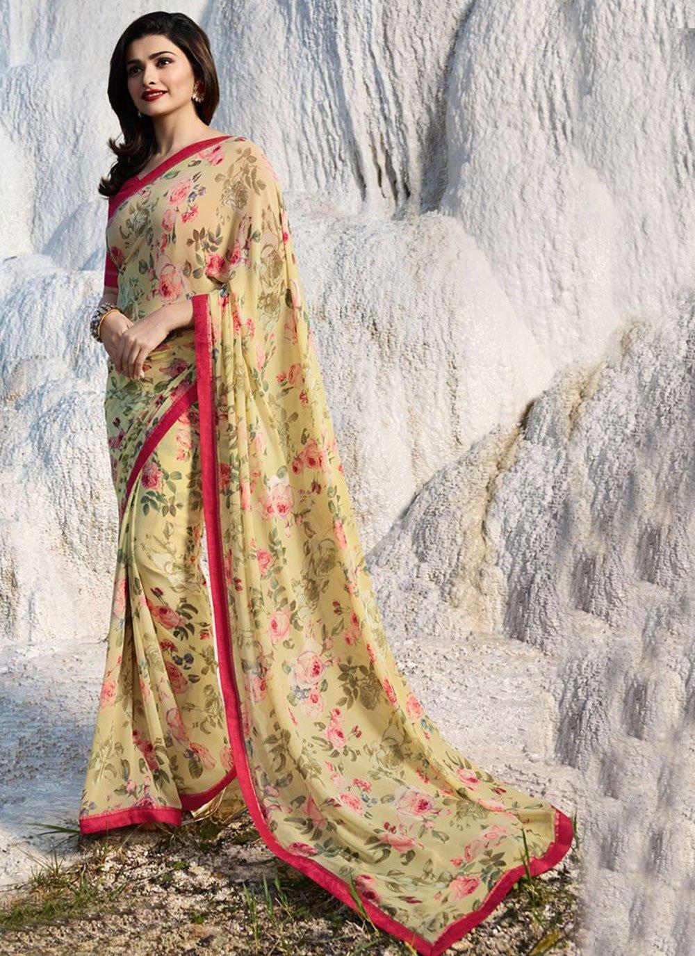 Prachi Desai Multi Colour Faux Georgette Printed Saree