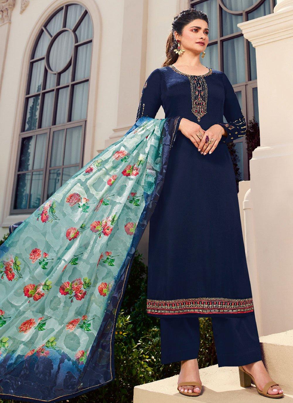 Prachi Desai Navy Blue Designer Palazzo Salwar Kameez