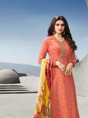 Prachi Desai Peach Faux Crepe Designer Palazzo Suit