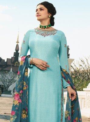 Prachi Desai Satin Stone Work Designer Palazzo Salwar Suit
