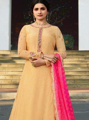 Prachi Desai Satin Yellow Embroidered Long Choli Lehenga