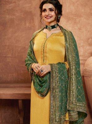Prachi Desai Yellow Georgette Satin Pant Style Suit