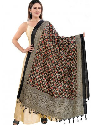 Print Art Silk Designer Dupatta in Black