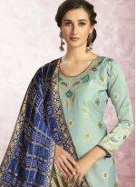 Print Banarasi Silk Blue Churidar Designer Suit