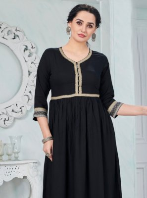 Print Black Party Wear Kurti