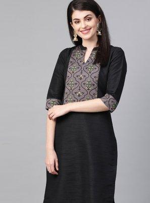 Print Black Poly Silk Designer Kurti