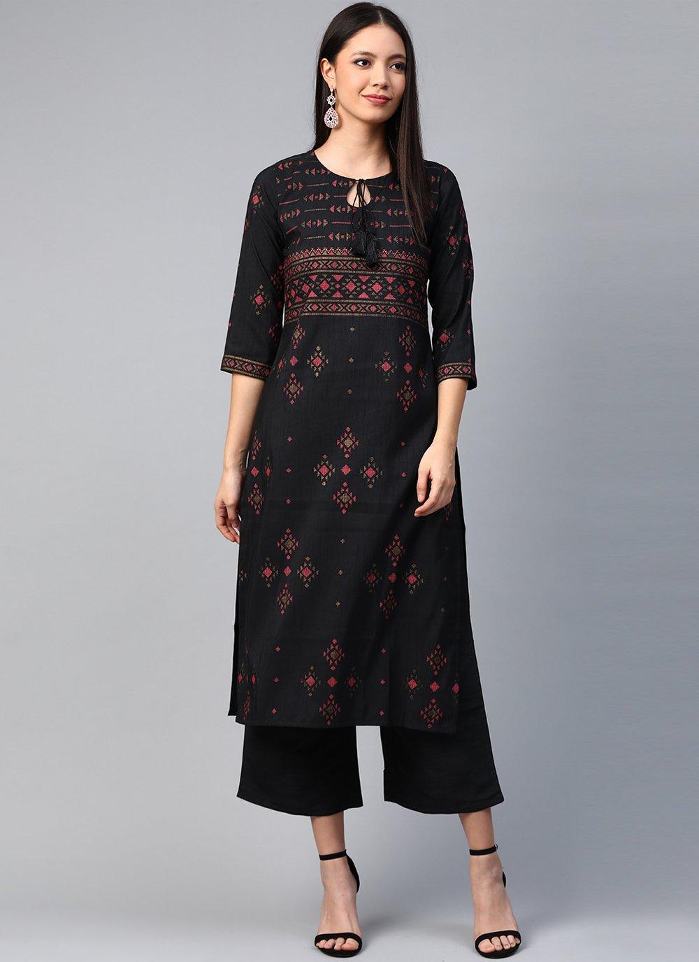 Print Black Poly Silk Party Wear Kurti