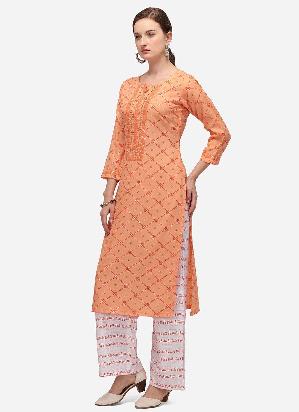 Print Blended Cotton Party Wear Kurti