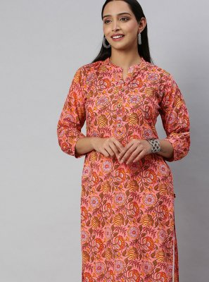 Print Blended Cotton Party Wear Kurti in Peach