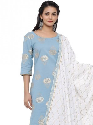 Print Blue Readymade Suit